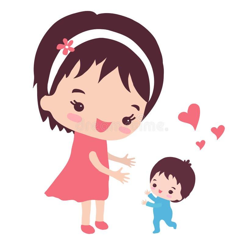Μια ευτυχής μητέρα με έναν μικρό γιο απεικόνιση αποθεμάτων