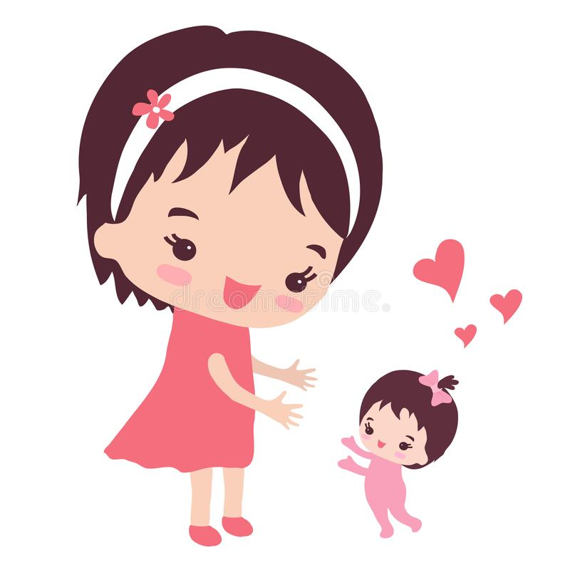 Μια ευτυχής μητέρα με μια μικρή κόρη απεικόνιση αποθεμάτων