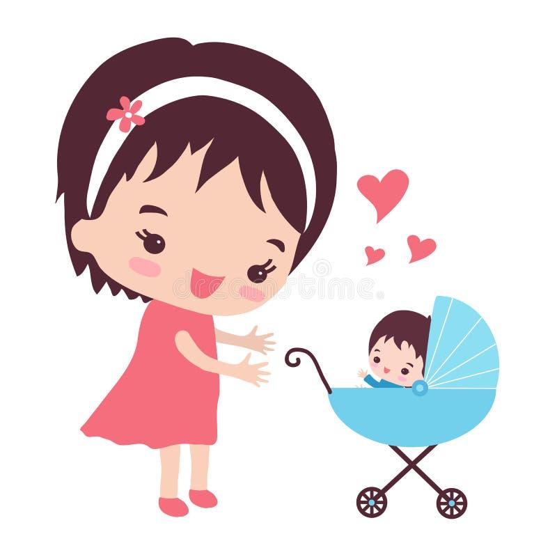 Μια ευτυχής μητέρα περπατά με έναν περιπατητή ελεύθερη απεικόνιση δικαιώματος