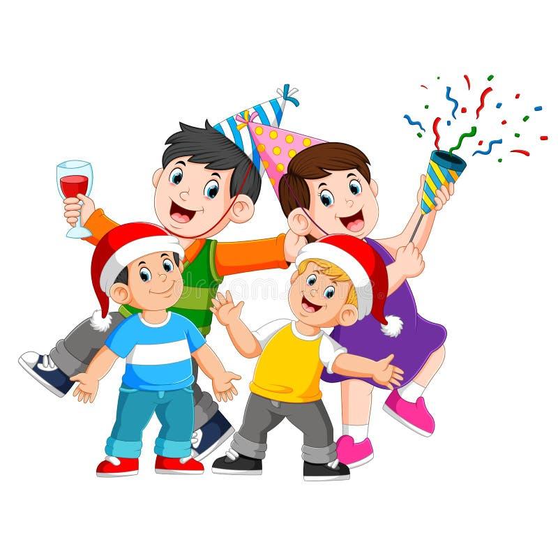 Μια ευτυχής οικογένεια γιορτάζει τα Χριστούγεννα με την παραγωγή ενός κόμματος ελεύθερη απεικόνιση δικαιώματος