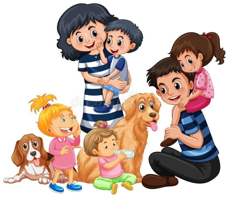 Μια ευτυχής οικογένεια και Pet διανυσματική απεικόνιση