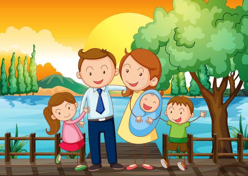 Μια ευτυχής οικογένεια στην ξύλινη γέφυρα διανυσματική απεικόνιση