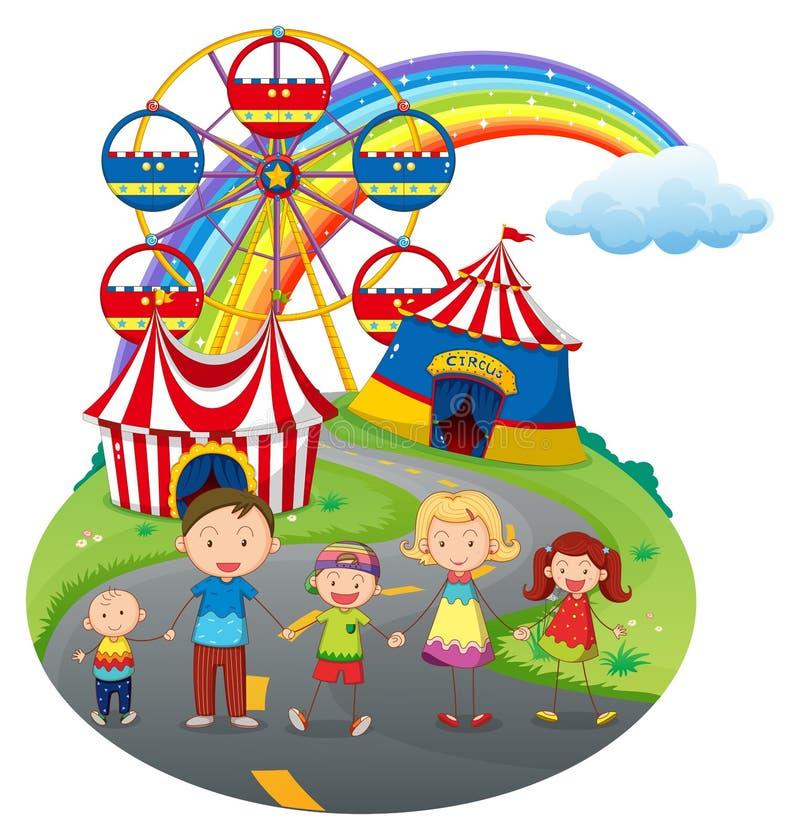 Μια ευτυχής οικογένεια στο καρναβάλι απεικόνιση αποθεμάτων