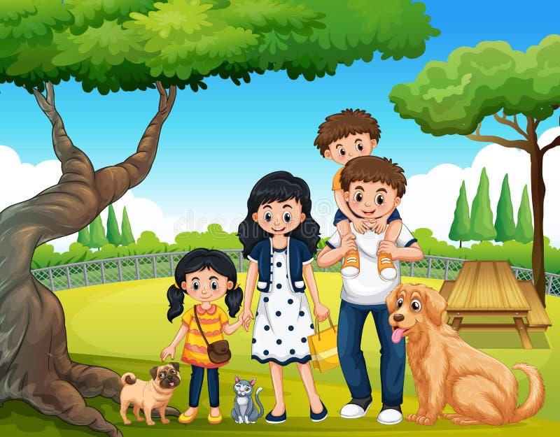 Μια ευτυχής οικογένεια στο πάρκο ελεύθερη απεικόνιση δικαιώματος