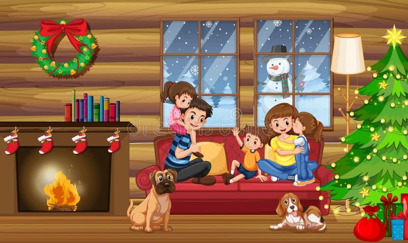 Μια ευτυχής οικογένεια στο σπίτι στα Χριστούγεννα απεικόνιση αποθεμάτων