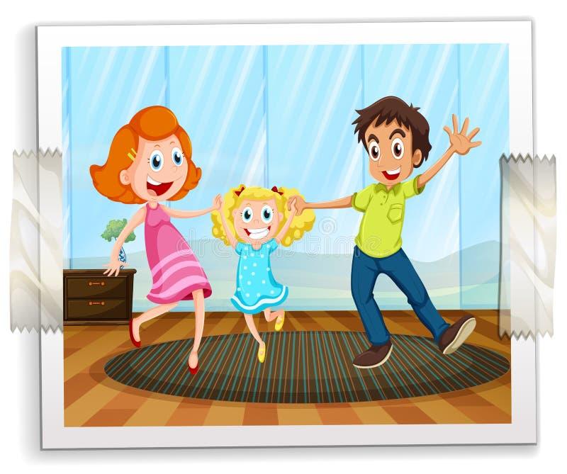 Μια ευτυχής οικογενειακή φωτογραφία διανυσματική απεικόνιση