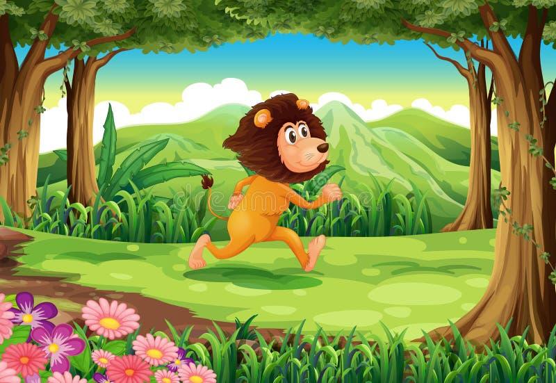 Μια ζούγκλα με ένα τρέξιμο λιονταριών διανυσματική απεικόνιση