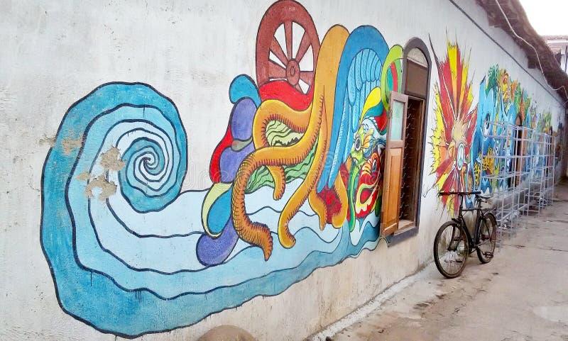 Μια ζωγραφική τοίχων στοκ φωτογραφία με δικαίωμα ελεύθερης χρήσης
