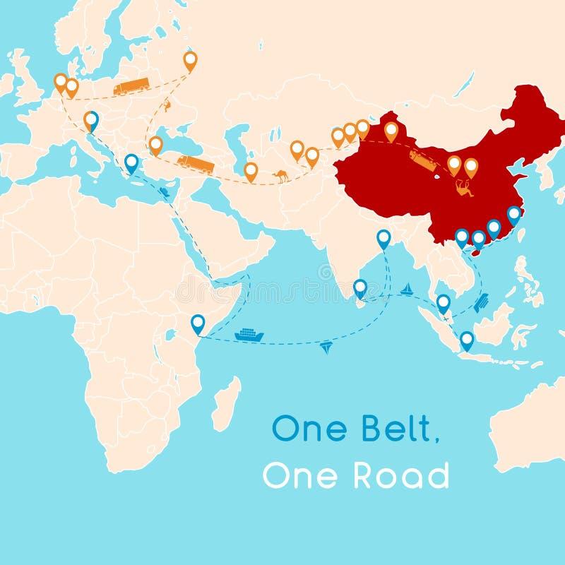 Μια ζώνη μια οδική έννοια οδικού νέα μεταξιού 21$ος-αιώνας συνδετικότητα και συνεργασία μεταξύ των ευρασιατικών χωρών Διανυσματικ απεικόνιση αποθεμάτων