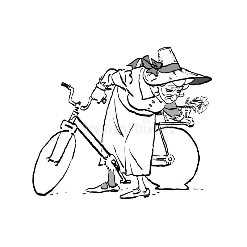 Μια ηλικιωμένη γυναίκα σε ένα ποδήλατο Χαλασμένη ρόδα Γιαγιά σε ένα καπέλο σε ένα ποδήλατο Ενεργός μακροζωία στοκ εικόνες με δικαίωμα ελεύθερης χρήσης
