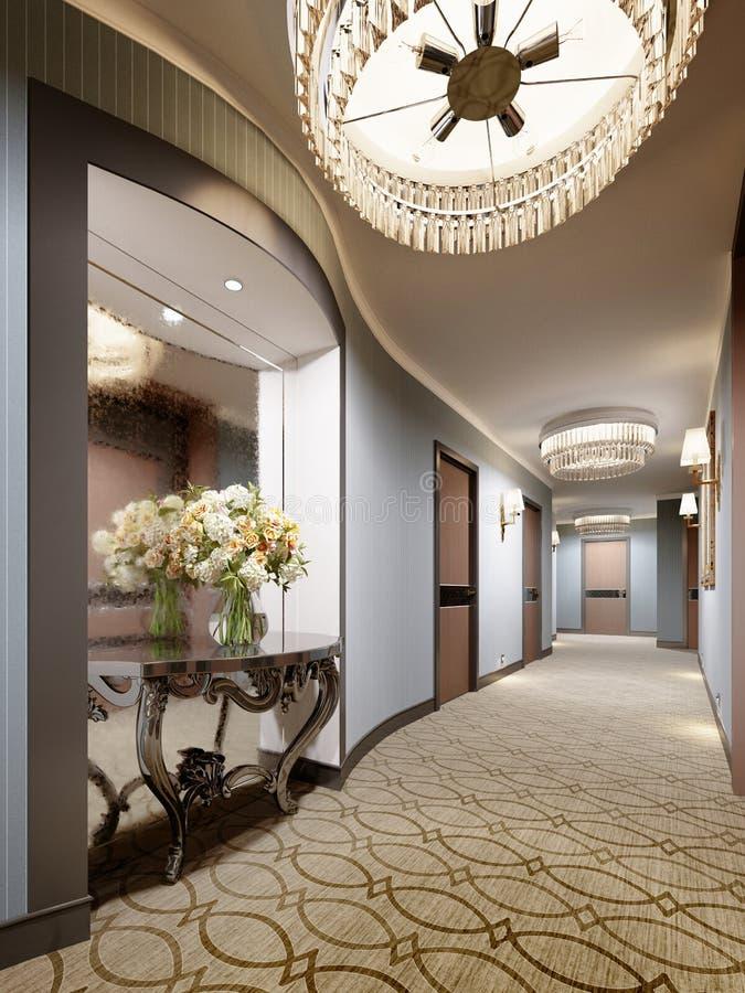 Μια θέση στον τοίχο του διαδρόμου ξενοδοχείων με έναν καθρέφτη και μιας κλασικής κονσόλας με τα λουλούδια και το φωτισμό ελεύθερη απεικόνιση δικαιώματος