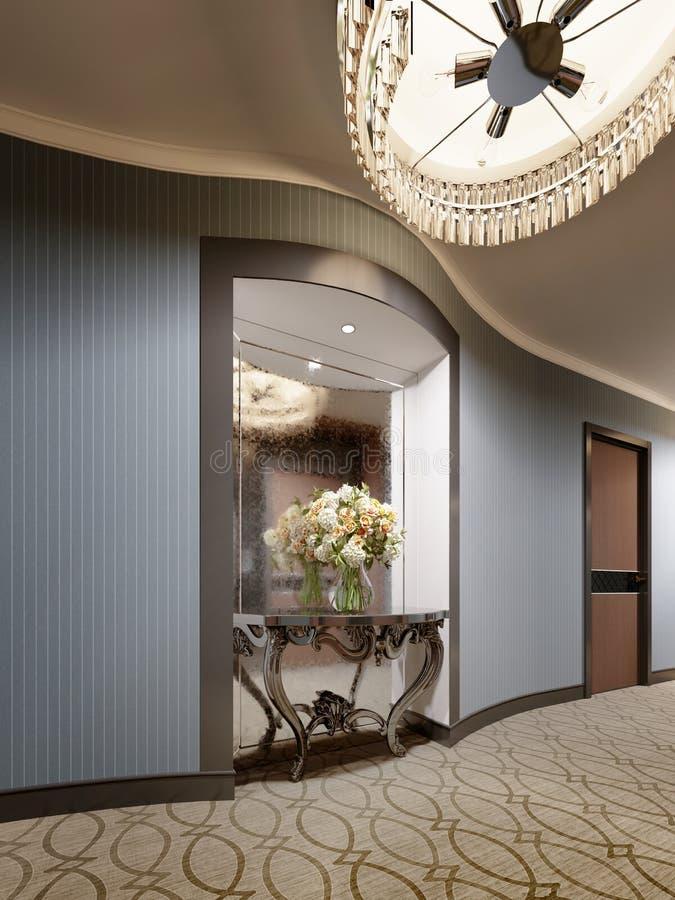 Μια θέση στον τοίχο του διαδρόμου ξενοδοχείων με έναν καθρέφτη και μιας κλασικής κονσόλας με τα λουλούδια και το φωτισμό απεικόνιση αποθεμάτων