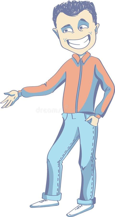 Μια διανυσματική απεικόνιση μιας τοποθέτησης νεαρών άνδρων απεικόνιση αποθεμάτων