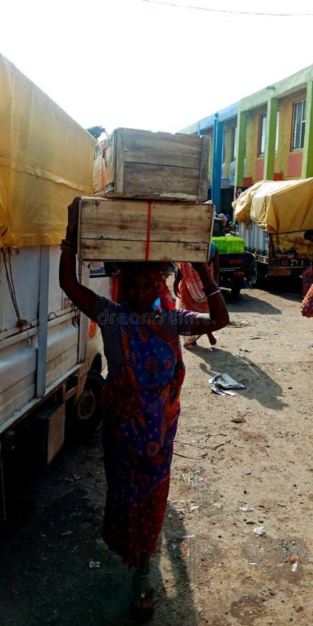 Μια ινδική του χωριού γυναίκα έφερε το φυτικό εμπορευματοκιβώτιο στο κεφάλι στην τοπική αγορά στοκ εικόνες