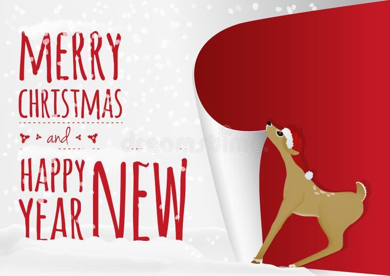 Μια κάρτα Χριστουγέννων με τα γλυκά ελάφια μωρών που κυλά επάνω το παλαιό έτος απεικόνιση αποθεμάτων