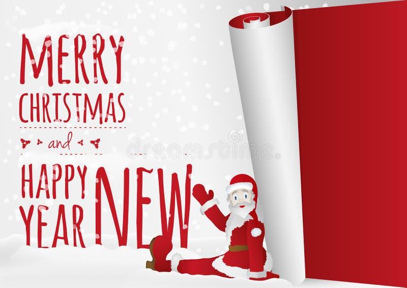 Μια κάρτα Χριστουγέννων με τη συνεδρίαση Santa που κυλά επάνω το παλαιό έτος ελεύθερη απεικόνιση δικαιώματος