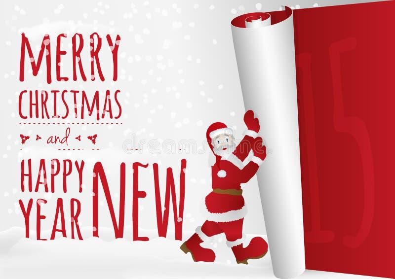 Μια κάρτα Χριστουγέννων με το περπάτημα Santa που κυλά επάνω το παλαιό έτος ελεύθερη απεικόνιση δικαιώματος