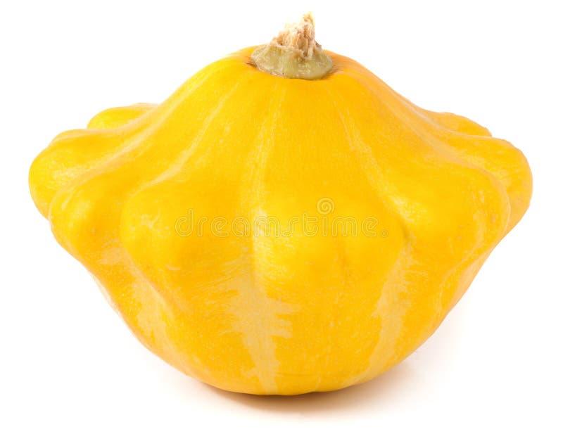 Μια κίτρινη pattypan κολοκύνθη που απομονώνεται στο άσπρο υπόβαθρο στοκ εικόνες