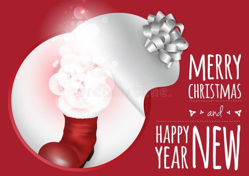 Download Μια καθιερώνουσα τη μόδα κάρτα με την μπότα Χριστουγέννων και τη μαγική πυράκτωση Απεικόνιση αποθεμάτων - εικονογραφία από δεκέμβριος, απομονωμένος: 62706178