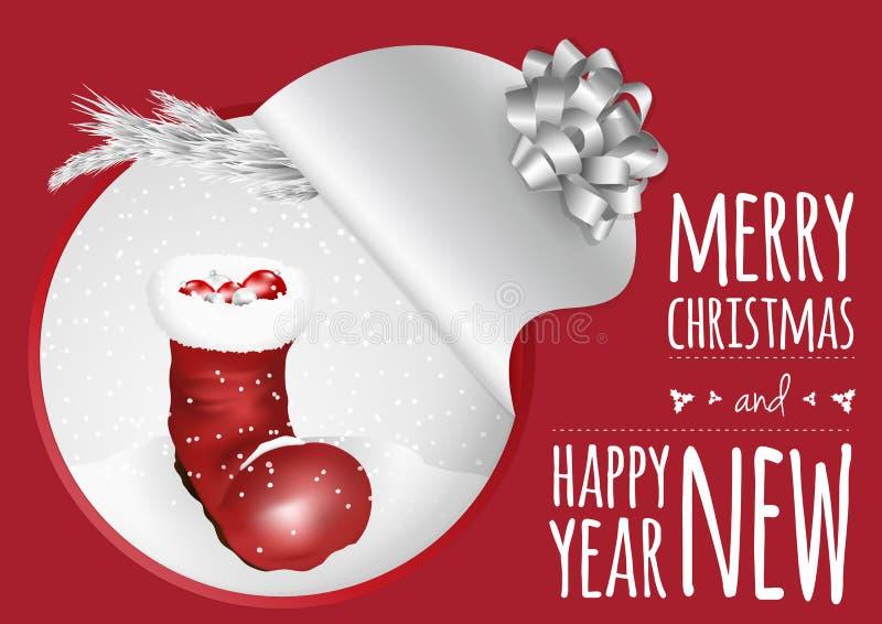 Μια καθιερώνουσα τη μόδα κάρτα με το έλατο και τις σφαίρες μποτών Χριστουγέννων διανυσματική απεικόνιση
