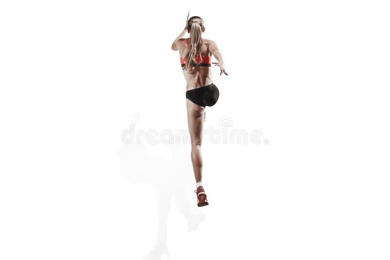 Μια καυκάσια γυναίκα που τρέχει στο άσπρο υπόβαθρο στοκ φωτογραφίες με δικαίωμα ελεύθερης χρήσης