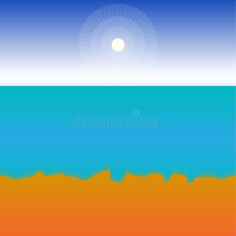 Μια καυτή, ηλιόλουστη θερινή ημέρα θαλασσίως Για το υπόβαθρο με το διάστημα για το κείμενο Πρότυπο διάνυσμα ελεύθερη απεικόνιση δικαιώματος