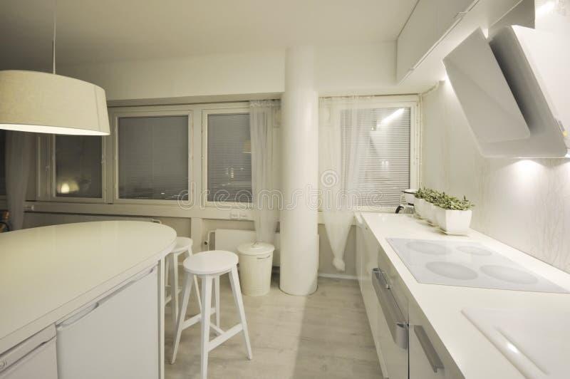 Μια κενή, καθαρή και σύγχρονη εγχώρια κουζίνα με τα λευκά γραφεία, τις πράσινες εγκαταστάσεις σε έναν πίνακα και μια κουκούλα κου στοκ εικόνες με δικαίωμα ελεύθερης χρήσης