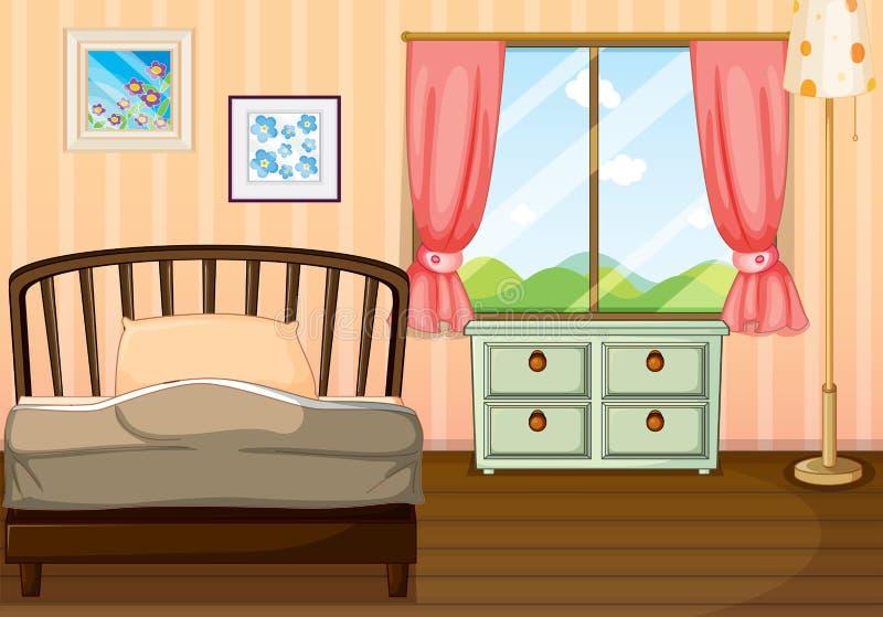 Μια κενή κρεβατοκάμαρα ελεύθερη απεικόνιση δικαιώματος