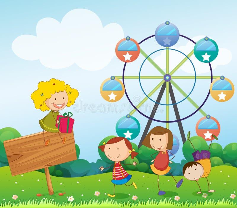 Μια κενή πινακίδα με τα παιδιά κοντά ferris κυλά διανυσματική απεικόνιση