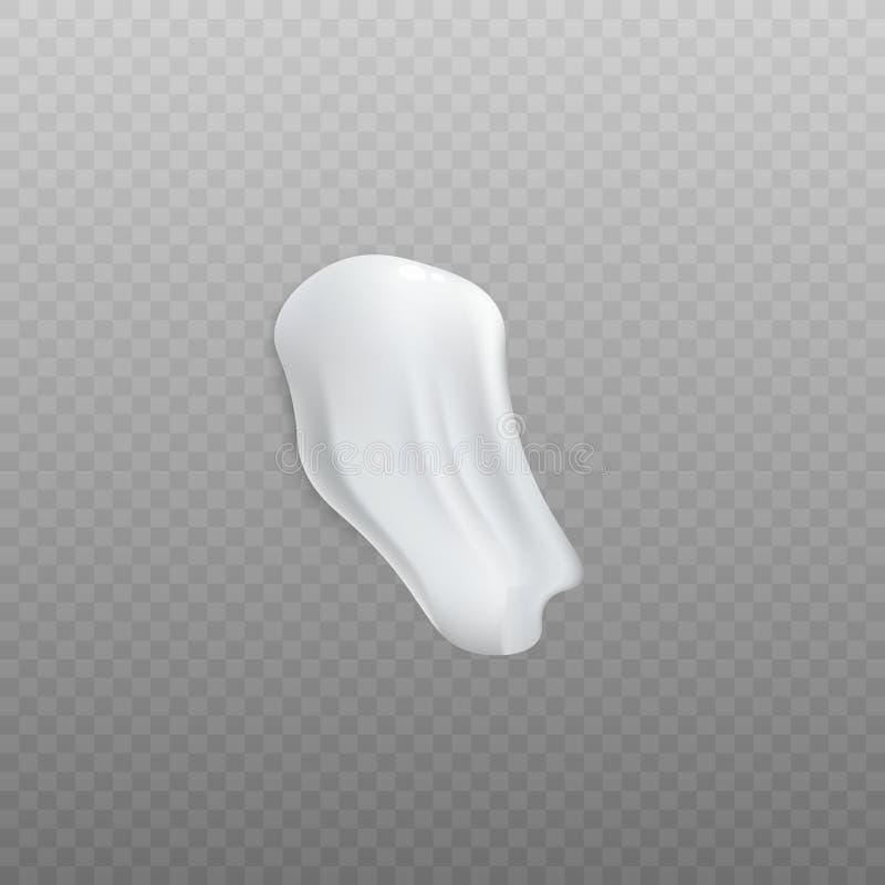 Μια κηλίδα του άσπρου καλλυντικού ρεαλιστικού ύφους κρέμας ή αφρού απεικόνιση αποθεμάτων