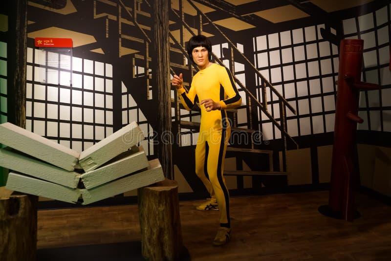 Μια κηροπλαστική του Bruce Lee στο μουσείο κεριών της κυρίας Tussauds στοκ φωτογραφίες