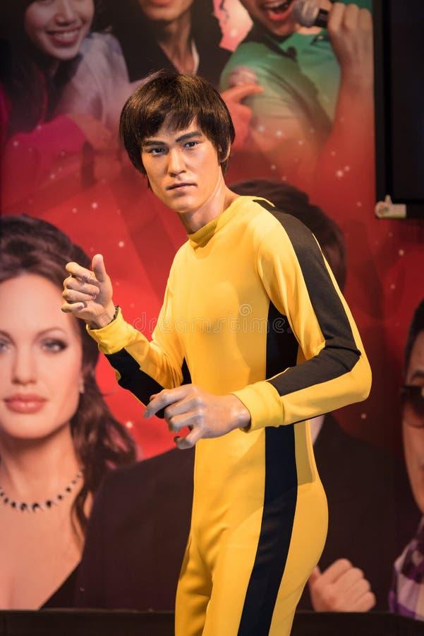 Μια κηροπλαστική του Bruce Lee στην επίδειξη στην αιχμή Βικτώριας στοκ φωτογραφίες με δικαίωμα ελεύθερης χρήσης