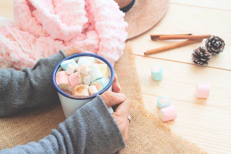 Μια κούπα της καυτής σοκολάτας με marshmallows κρητιδογραφιών στα χέρια γυναικών Άνετος τρόπος ζωής Χειμώνας στοκ εικόνες με δικαίωμα ελεύθερης χρήσης