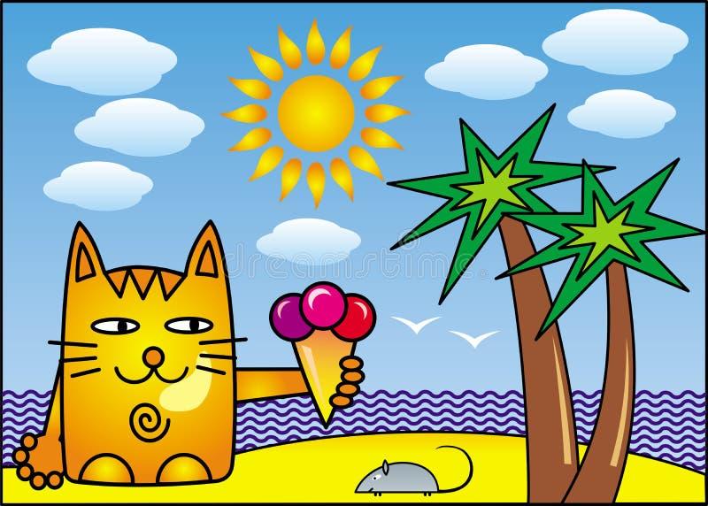 Μια κόκκινη γάτα κινούμενων σχεδίων με το παγωτό στην ακτή της τροπικής θάλασσας κάτω από έναν φοίνικα ανασκόπηση που σύρει το fl διανυσματική απεικόνιση