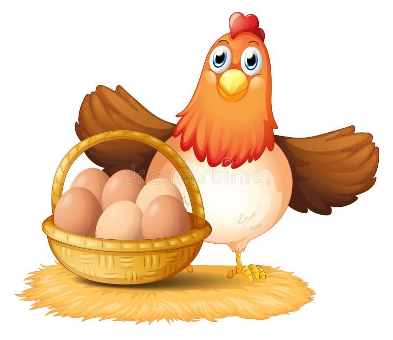 Μια κότα και ένα καλάθι του αυγού διανυσματική απεικόνιση