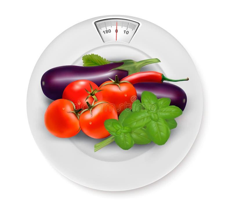 Μια κλίμακα με τα λαχανικά σιτηρέσιο έννοιας ελεύθερη απεικόνιση δικαιώματος