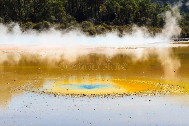 Μια λαμπρά-χρωματισμένη ομάδα φορτωμένου του μετάλλευμα νερού σε μια ηφαιστειακή περιοχή στοκ φωτογραφίες
