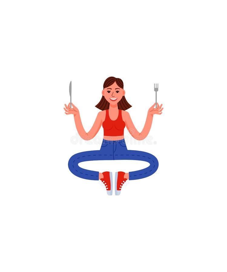 Μια λεπτή γυναίκα κάθεται θέτει της περισυλλογής με ένα δίκρανο και ένα μαχαίρι στα χέρια της Γυναίκα στα τζιν, την μπλούζα και τ απεικόνιση αποθεμάτων