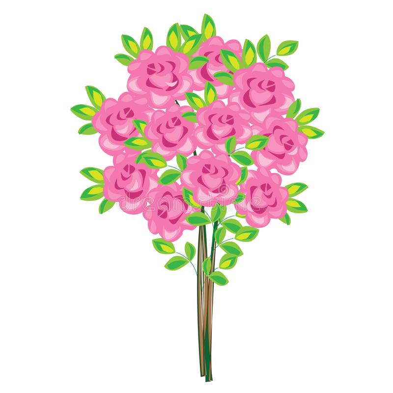 Μια μεγάλη ανθοδέσμη των θαυμάσιων ρόδινων τριαντάφυλλων! Ένα ρομαντικό δώρο αγαπημένο Θα δημιουργήσει μια μεγάλη διάθεση Εικόνα  διανυσματική απεικόνιση