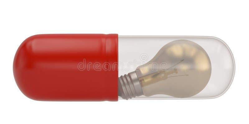 Μια μεγάλη κάψα χαπιών και lightbulb εσωτερικών που απομονώνεται στο άσπρο υπόβαθρο r διανυσματική απεικόνιση