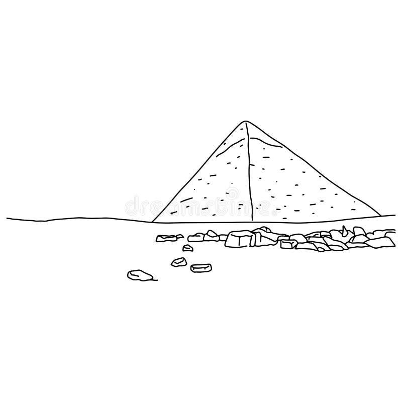 Μια μεγάλη πυραμίδα του διανυσματικού χεριού σκίτσων απεικόνισης Giza doodle που επισύρεται την προσοχή με τις μαύρες γραμμές που ελεύθερη απεικόνιση δικαιώματος