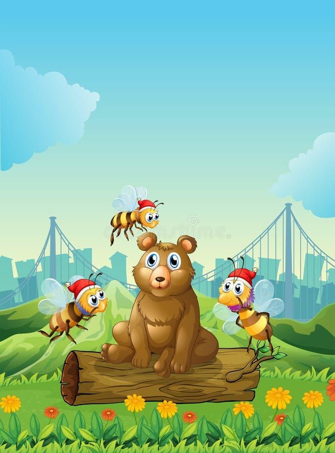 Μια μεγάλη αρκούδα επάνω από το κούτσουρο με τρεις μέλισσες απεικόνιση αποθεμάτων