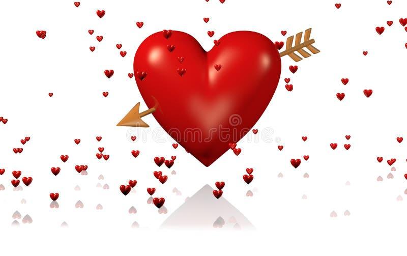 Μια μεγάλη και κόκκινη καρδιά με το χρυσά βέλος και τα μέρη των μικροσκοπικών καρδιών απεικόνιση αποθεμάτων