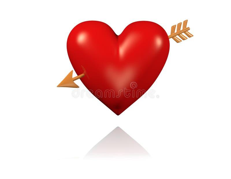 Μια μεγάλη και κόκκινη καρδιά με το χρυσό βέλος απεικόνιση αποθεμάτων