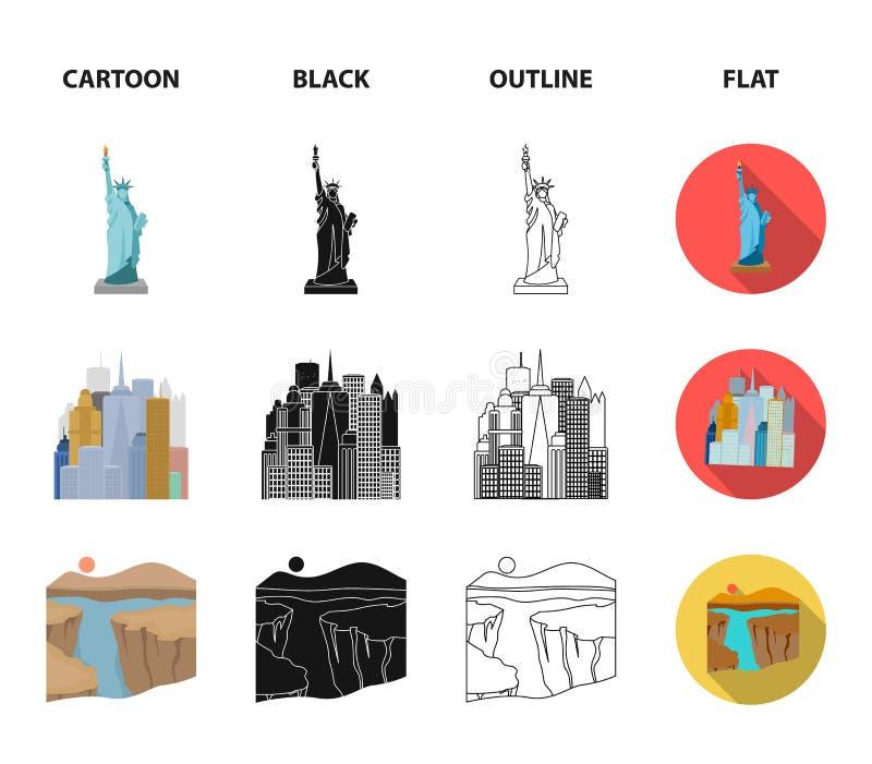 Μια μεγαλούπολη, ένα μεγάλο φαράγγι, μια χρυσή γέφυρα πυλών, doughnut με τη σοκολάτα Τα καθορισμένα εικονίδια συλλογής αμερικανικ απεικόνιση αποθεμάτων