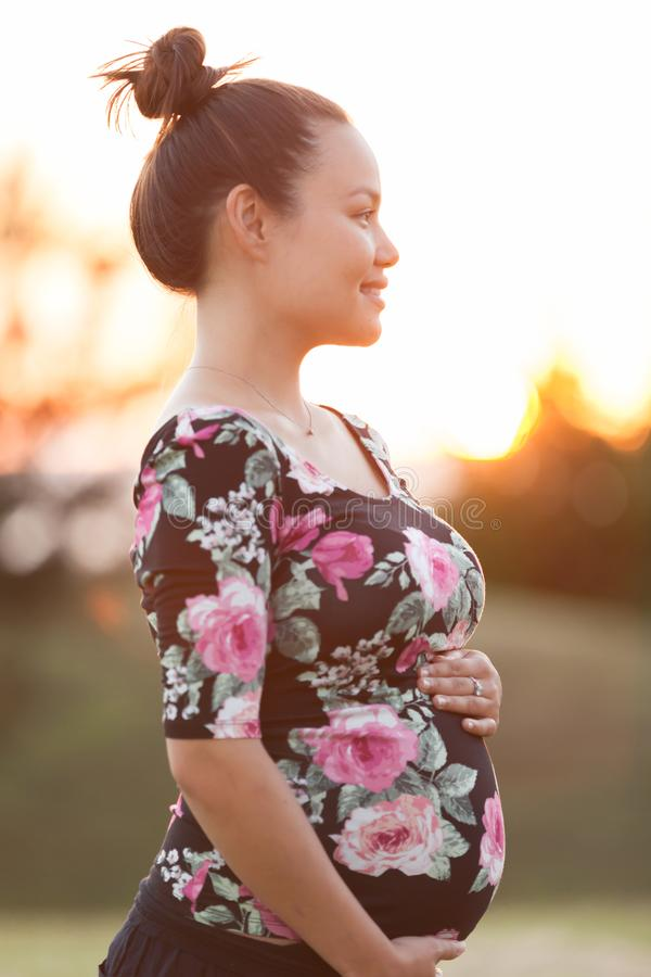Μια μητέρα ευτυχώς την πρόσκρουση μωρών της, που διεγείρεται για να αρχίσει τη ζωή της με ένα νέο οικογενειακό μέλος στοκ εικόνα