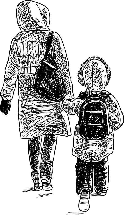 Μια μητέρα με το παιδί της που πηγαίνει σε έναν περίπατο ελεύθερη απεικόνιση δικαιώματος