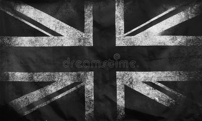 Μια μονόχρωμη εικόνα πλήρους πλαισίου μιας παλιάς, βρώμικης, βρετανικής σημαίας τύπου ένωσης με σκούρα τσαλακωμένα άκρα στοκ εικόνες με δικαίωμα ελεύθερης χρήσης