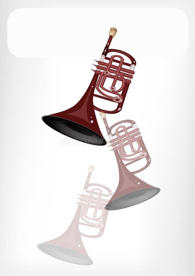 Μια μουσική κορνέτα με ένα άσπρο έμβλημα διανυσματική απεικόνιση