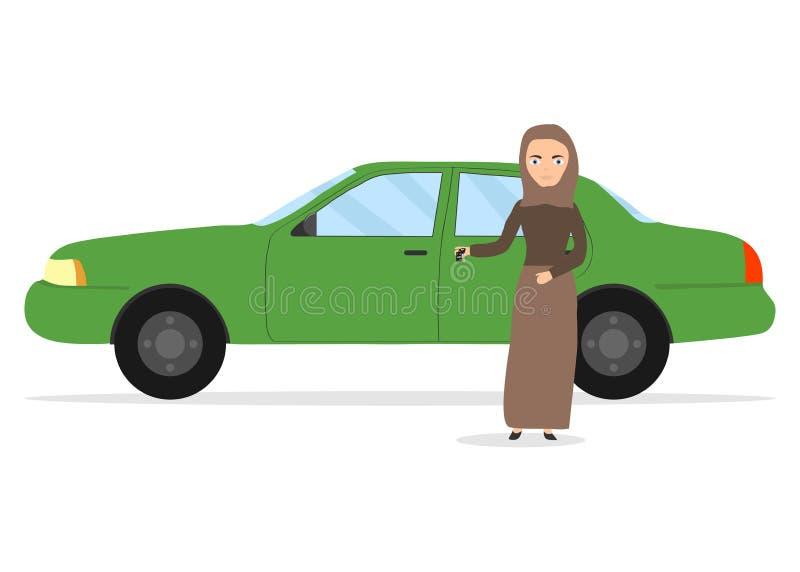 Μια μουσουλμανική γυναίκα κρατά τα κλειδιά σε ένα αυτοκίνητο Μια μουσουλμανική γυναίκα έλαβε μια άδεια οδηγών ` s απεικόνιση αποθεμάτων